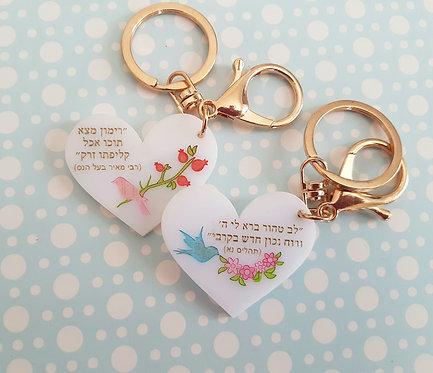 מחזיק מפתחות חגיגי מעוצב בסגנון כרטיס ברכה נוסטלגי מתקתק