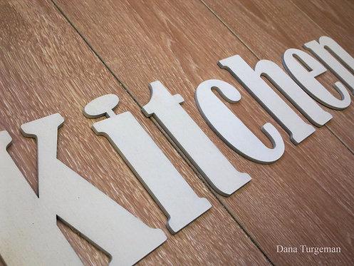 a Kitchen sign/    בצבע שמנת kitchen אותיות