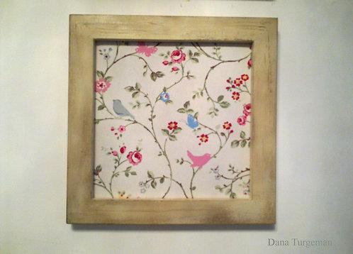 תמונת קיר עץ ובד/ wood and fabric wall art