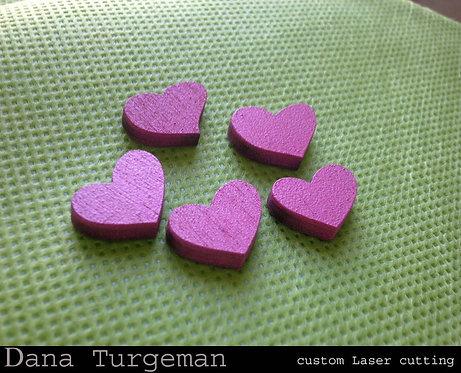מיקס 50 לבבות קטנים מעץ בצבע ורוד