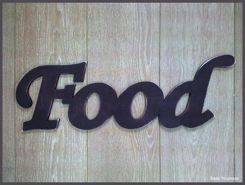 שילוט דקורטיבי מעץ חום כהה / Food sign