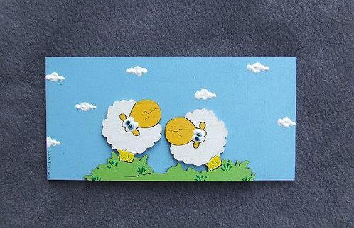 שלט לדלת עם זוג כבשים