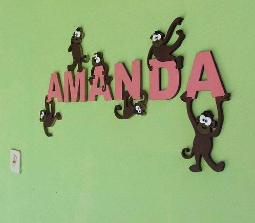 אותיות עץ עם קופים / wooden letters with monkeys