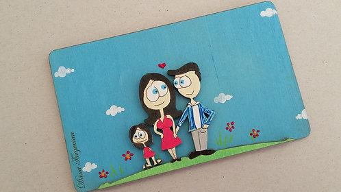 שלט משפחתי זוג + ילדה