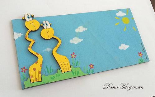 שלט משפחתי לדלת עם זוג ג'ירפות  Family Door Sign with Two Giraffes
