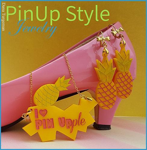 Jewelry Set Pineapple / סט שרשרת ועגילי אננס