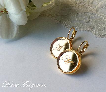 עגילים מוזהבים עם חריטה אישית / Golden Earrings
