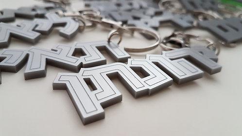 מחזיק מפתחות עם שם בהתאמה אישית, כסוף מט