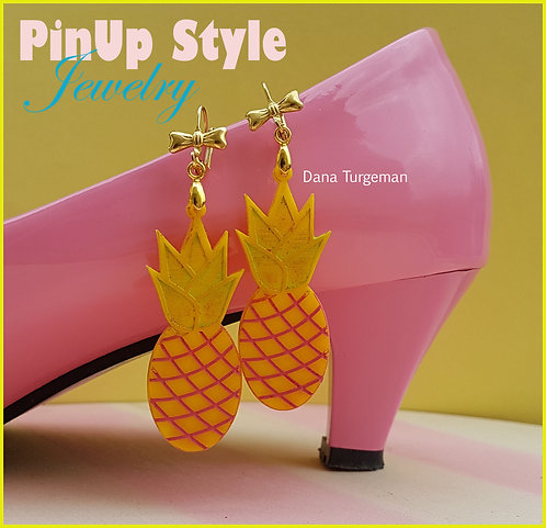 Huge Pineapple Earrings / עגילי אננס ענקיים