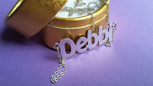 Silver Tone English Name Necklace שרשרת שם כסופה באנגלית