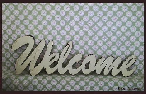 שילוט דקורטיבי מעץ / Welcome sign