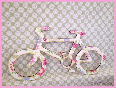 Wall Art / אופניים מעץ בחיפוי בד לתליה על קיר