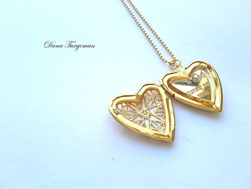 שרשרת עם תליון לב תחרה נפתח בציפוי זהב