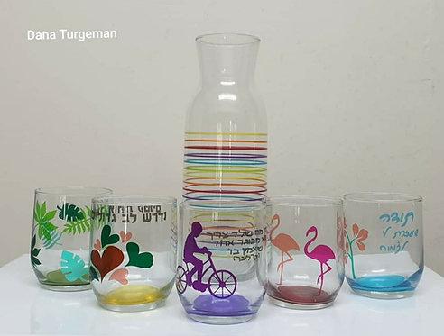 סט 6 כוסות + קנקן זכוכית. רטרו סטייל