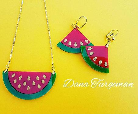 Jewelry Set Watermelon / סט שרשרת ועגילי אבטיח