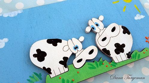 שלט משפחתי לדלת עם זוג פרות Family Door Sign with Two Cows