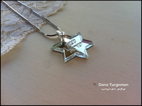 מגן דוד כסוף /silver mirror david star necklace