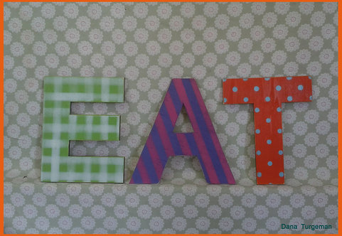 "Multicolor Wooden letters ""EAT""  כיתוב  צבעוני מעץ"