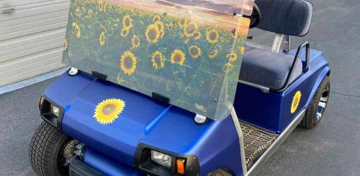 AZGP Golf Cart Wrap Sunflower