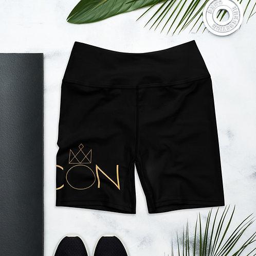 Black ICON Yoga Shorts (Large logo)