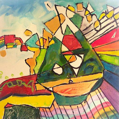 "12. ""Pepe's Reflection"" acrylic on canvas, 12"" x 12"" 2016"