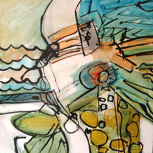 "14. ""Nautica"" acrylic on canvas, 12"" x 12"" 2016"
