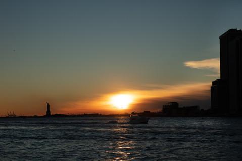 Ponte do Brooklyn, Vista de Manhattan ao entardecer, Nova York