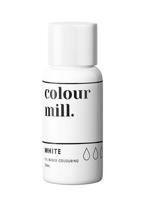 White 20ml Colour Mill, white colour Mill, colour mill, white food coloring, oil based coloring, oil based food coloring