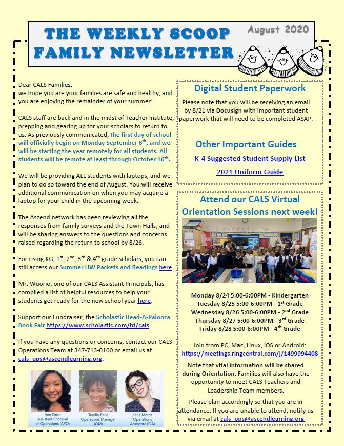 The Weekly Scoop Family Newsletter