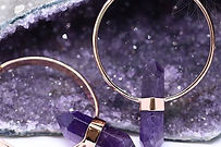 Amethyst and Rose Gold Earrings from Luna Piercing and Fine Jewelry