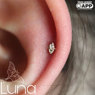 Healed helix with yellow gold and white topaz faux marquis end