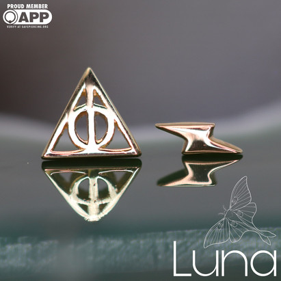 Yellow gold Deathly Hallows, Rose gold lightining bolt