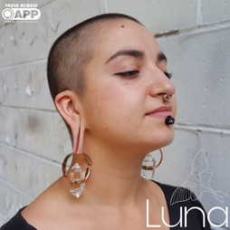 Alchemy brass and quartz weights. Other piercings and jewelry by Laura at Luna