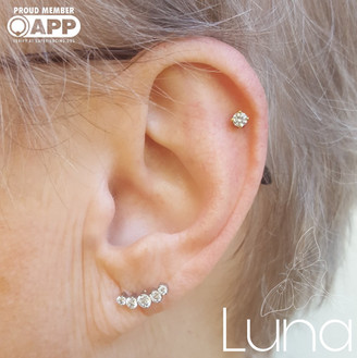 Fresh cartilage piercing with yellow gold end and Swarovski Zirconia 5 gem arc in an earlobe