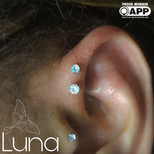Prong set water opals in fresh forward helixes