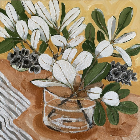 'Coastal Banksia' 40x40cm, acrylic on canvas, 2020 - in private collection