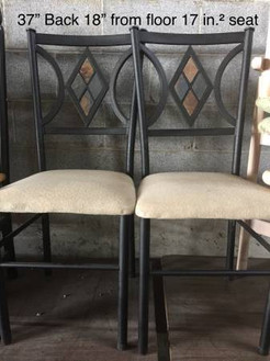 Set of 4 metal dining chairs with diamon