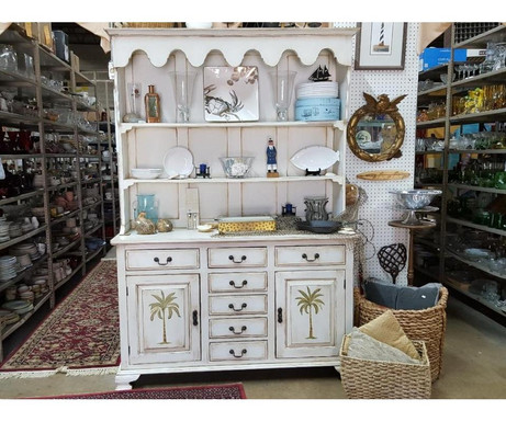 Whitewashed Hutch with Palm Tree Motif