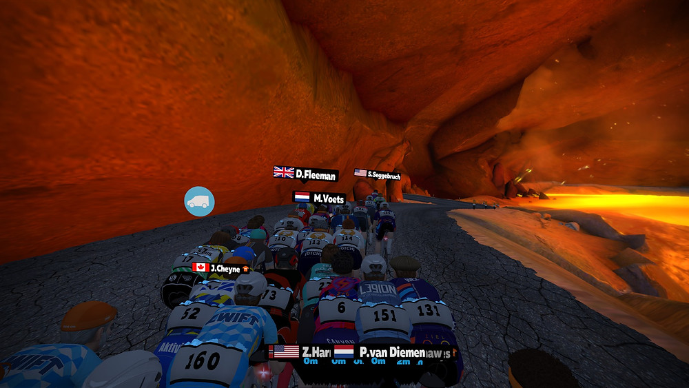 ZRL rund 7 volcano KOM, Volcano Circuit, Zwift racing league, Draft power up