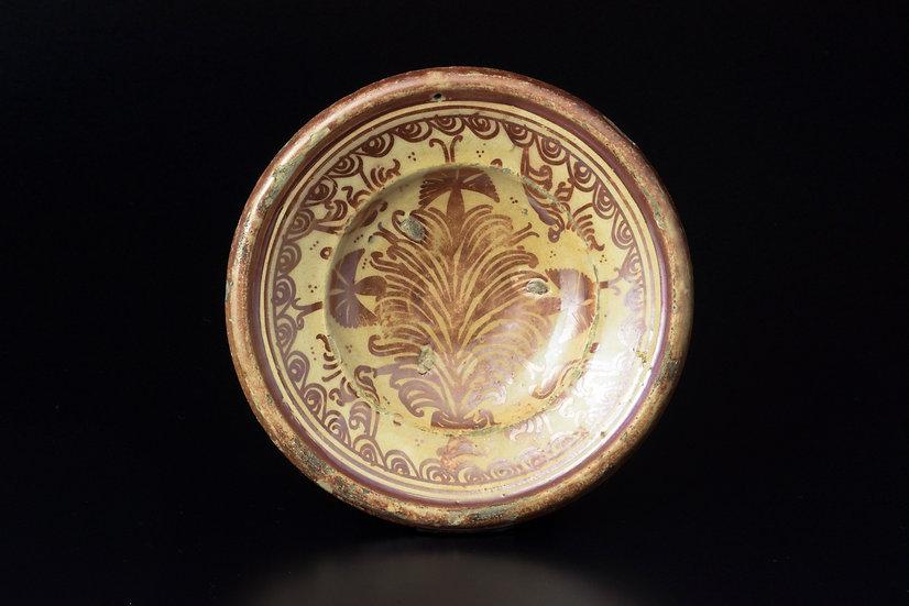 販売 骨董 古美術 アンティーク ラスター彩 平皿 スペイン マニセス イスラム 生命の樹 飾り皿