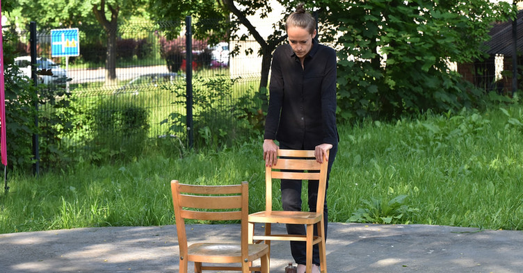 """""""The way we walk"""", action, 5th of June 2021, X Performance Art Festival in Tychy, Poland.  Photo @Tomasz Gonsior"""