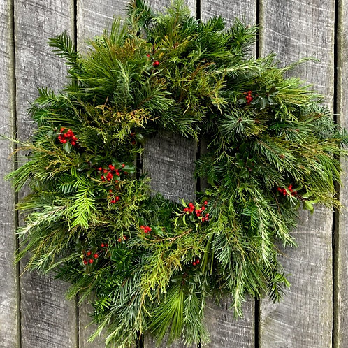 A Touch of Red Large Christmas Wreath