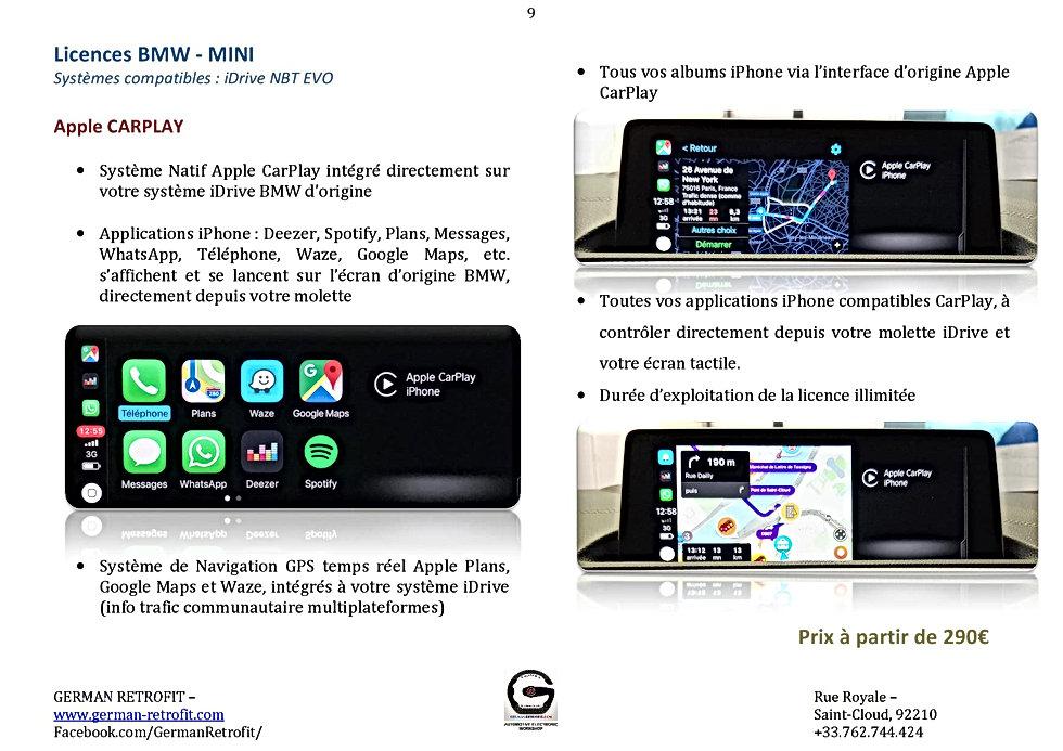 Carplay GERMAN RETROFIT - Catalogue BMW-