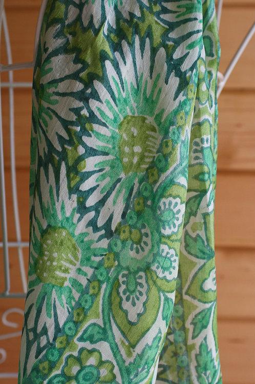 Vintage Green Floral Scarf