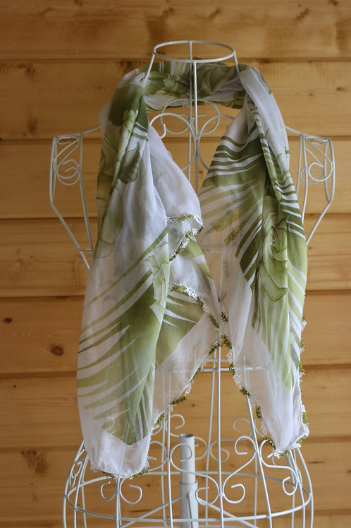 Vintage Green Rose Scarf/Wrap
