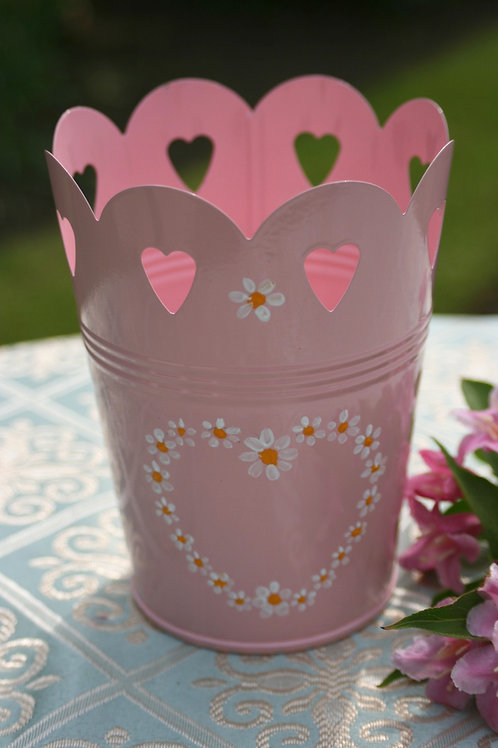 Hand-painted Tin Plant Pot