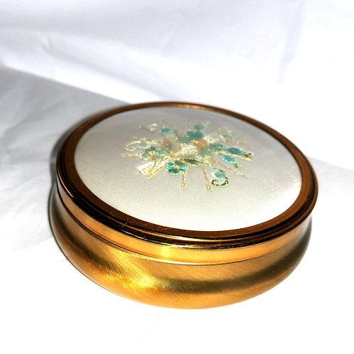 Vintage Embroidered Lid Trinket Box