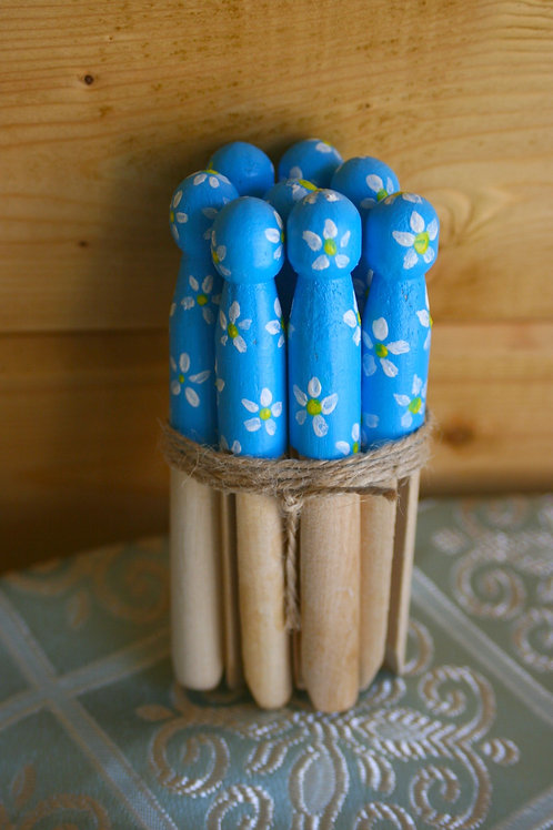 Hand-painted Vintage Style Pegs (Bundle of 8)