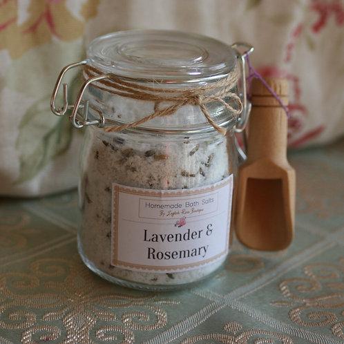 Homemade Lavender & Rosemary Bath Salts