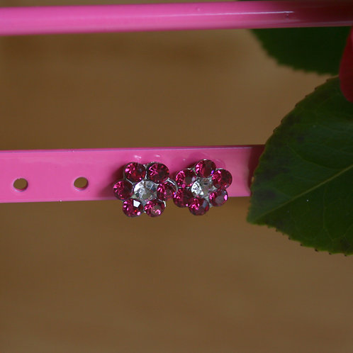 Dark Pink Gem Earrings